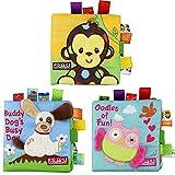 Iontek 英語 布絵本 音が鳴る 知育玩具 ベビー用品 布のおもちゃ 出産祝いのプレゼント 3個セット(サル/犬/フクロウ)