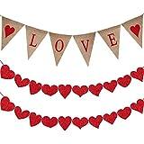 Supla 長さ6.6フィート LOVE 文字とハート サイン バレンタイン 黄麻布 バナー 素朴な黄麻布 ペナントフラッグ LOVE バンティングバナー 20個 10形状 赤 フェルトハート ガーランドバナー 赤紙 ラフィアコード付き