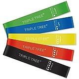 TRIPLE TREE エクササイズバンド トレーニングチューブ 強度別5本セット 天然ゴム 無刺激 収納袋付き フィットネス ダイエット リハビリ用 1年保証期間