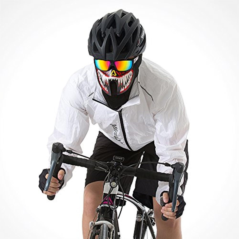 OKNAE【2018年最新版】ELマスク 仮装マスク バイクマスク LEDマスク ハロヴィン ウィンタースポーツ 発光 仮装 仮面 半面 音声制御 多機能 音楽LEDパーティ ダンス、スケート、自転車、紫外線対策、花粉対策、乗馬 夜間騎行用 (牙)
