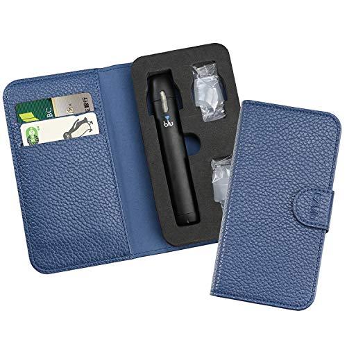 マイブルー ケース myblu 電子タバコ 手帳型 コンパクトカバー 軽量 マウスピース5個付けて (Blue)