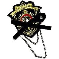 バッジ ワッペン風 刺繍 リボン チェーン付き c6 エンブレム WP-203