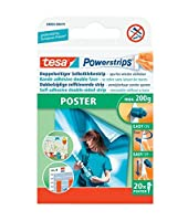 tesa UK Powerstrips Poster Double-Sided Removable Strips - Pack of 20