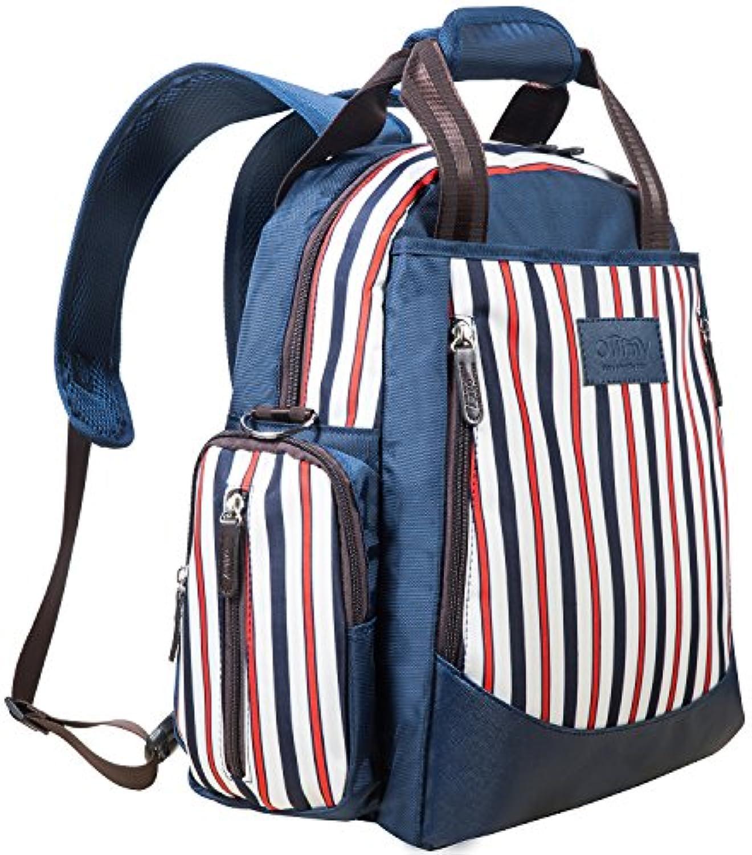おむつバッグbackpack- ollimy Designerオーガナイザーベビーバックパックストライプ – Baby Bag – Largeおむつトートバッグ旅行のStrollerストラップChanging Pad For...