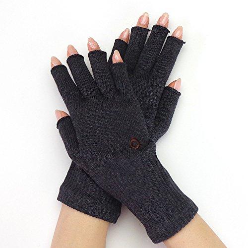 指なし 手袋 綿 日本製 【841 ハンドウォーマー MAX】MAX チャコールミックス