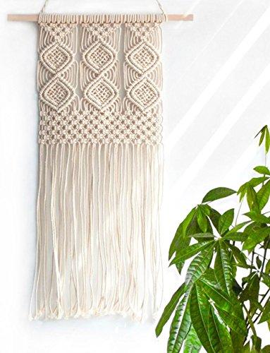 マクラメ タペストリー 手作り編み 壁飾り壁掛け ボヘミア ハンギング インテリア アパート 部屋 寮 ベッドルーム デコレーション W30.5cm x L63.5cm