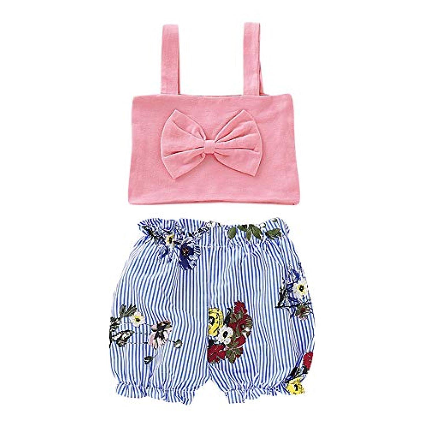 冷淡な近々言い聞かせるRad子供 夏女の赤ちゃんストラップちょう結びトップスTシャツストライプ花柄ショーツスーツカジュアルコスチュームセット
