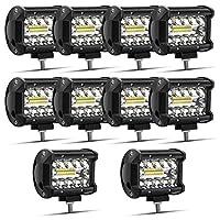 Safego 60W LED 作業灯 ワークライト 狭角30度タイプ 20連 LED 車外灯 農業機械 12V 24V兼用 汎用 防水・防塵・耐震・長寿命 ホワイト 6000K 1260LM 10個入 一年保証
