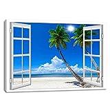 大きな窓枠スタイルヤシの木シースケープキャンバスプリントウォールアート現代風景壁写真の家の装飾リビングルームの寝室の木造額装する準備ができて(70cmx110cm, 窓口20)