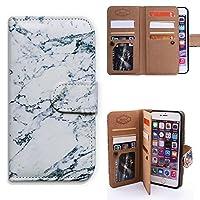 iPhone 6 Plus/6S Plus ケース,アイフォン 6 Plus/6S Plus ケース,Bcov 良質PUレザーケース 横開き 手帳型 二つ折り 9枚カード収納ポケット&ストラップ付き スタンド機能 保護カバー 大理石柄 白い灰色石紋