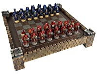 """Medieval Dragon Gothic Fantasy Red & Blue Chess Set w/ 17 1/2"""" Castle Fortress Board"""