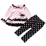 FTzone ベビーの女の赤ちゃんの柔らかい綿の長袖2個服セット(ピンク鳥) (3-9 ヶ月)
