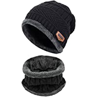 HUAYUE 2-Pieces Unisex Winter Knit Beanie Caps and Circle Scarf, Warm Fleece Lined Hat Scarf Set for Men Women