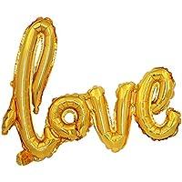 Skyllc ゴールデンウェディングデコレーションミディアムシャムLOVEバルーンバレンタインデー結婚提案セットアルミホイルバルーン