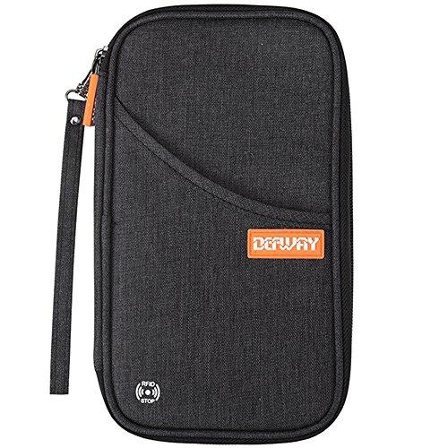 【磁気干渉防止機能】 Defway パスポートケース パスポートポーチ パスポートバッグ 【ブランド品一年保障】 海外旅行 出張 ビジネス 財布 首下げ 旅行小物 貴重品 通帳 カード入れ 収納ポーチ 12のポケット (3色あり:黒・灰色・桃色)