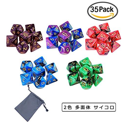 ダイス,MAVEEK(マビーカ)二色多面体ダイス 多面体 サイコロ ダイスセット ボードゲーム カー ドゲーム 用 5色 35個 セット 収納袋付き