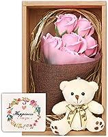 ソープフラワー 花束 ブーケ テディベア セット プレゼント ギフト お祝い (ピンク)