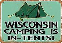 なまけ者雑貨屋 Wisconsin Camping is in-Tents ブリキ看板 壁飾り レトロなデザインボード ポストカード サインプレート 【20×30cm】