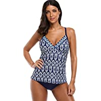 ATTRACO Ladies Swimming Costume Peacock Feathers Printed Tankini Swimwear
