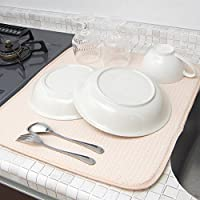 mikketa 水切りマット キッチン 食器 大判 速乾 吸水 ベージュ 【全8色】