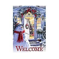 Haihuic ホームガーデンフラグ 雪だるま歓迎 30 x 45 cm / 12 x 18インチ クリスマスツリー あなたの庭を明るくする庭の旗