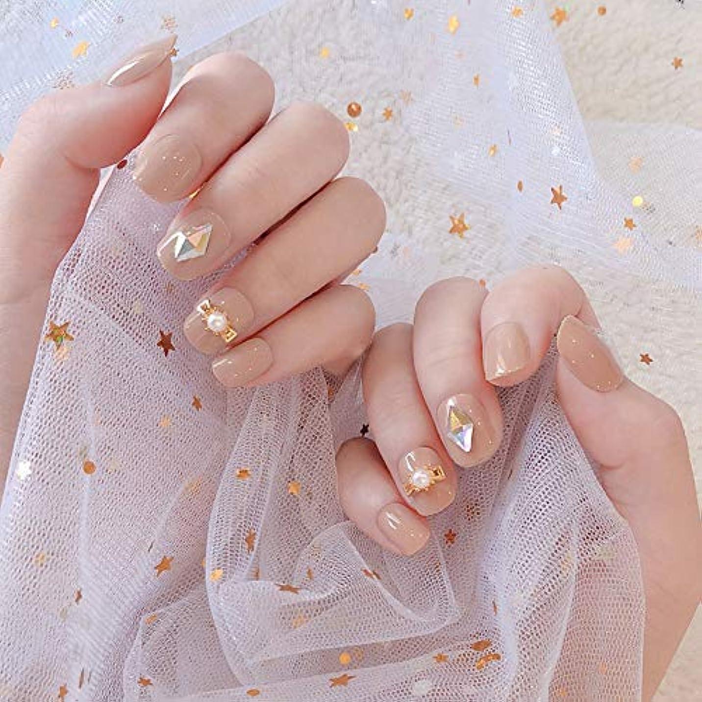 ばか叱る才能のあるXUTXZKA 光沢のあるダイヤモンド花嫁ネイルアートグリッド花ネイルステッカーショートフルカバー偽の爪