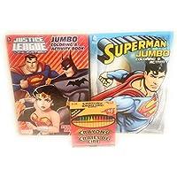 セットの2 Justice Leagueジャンボアクティビティ& Coloring Books and 48クレヨンfeaturingスーパーマン、バットマン、ロビン、Wonder Woman , The Flash , and More 。