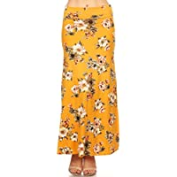 Women's Casual High Waisted Solid/Printed Long Maxi Skirt/Made in USA