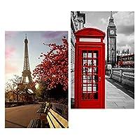Baoblaze 2セット DIY 5D ダイヤモンド絵画 刺繍 クロスステッチキット ホーム ルーム 装飾 パリ&ロンドン