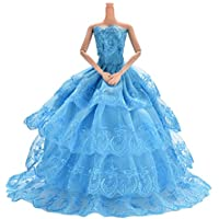 1X Blue Princess Rapunzel Party Dress Costume Wedding Gown Dress For Cinderella Snow White Dolls
