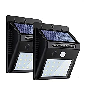 改良版 センサーライト 人感ソーラーライト ボタン付き ZEEFO 20LED 3つ知能モード 太陽発電 屋外照明 2個