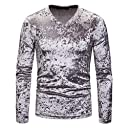 GodeyesW Mens V-Neck Pure Color Pullover Fall Winter Long Sleeve Top Shirt Light Grey M