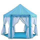 キッズテント 子供用テント プリンセス城型 折り畳み式 プレイハウス キラキラLEDスターライト付き 秘密基地 お誕生日・出産祝い・クリスマスプレゼント おもちゃ Wilwolfer (ブルー)