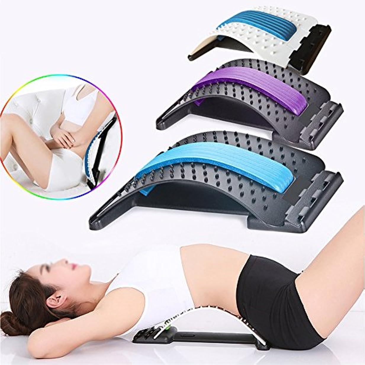 バックマッサージ 腰椎矯正クッション枕 背中バキバキト 腰痛対策 腰部マッサージ 家庭用,オフィスでの使用,ギフトとしても使えます (パープル)