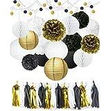 40個紙ポンポン花キット+ Paper Lanterns + Hanging Dot Paper Garland +ハニカムボール+ Tissue Tasselsウェディングパーティー装飾誕生日子供ブライダルシャワー用ベビーシャワー