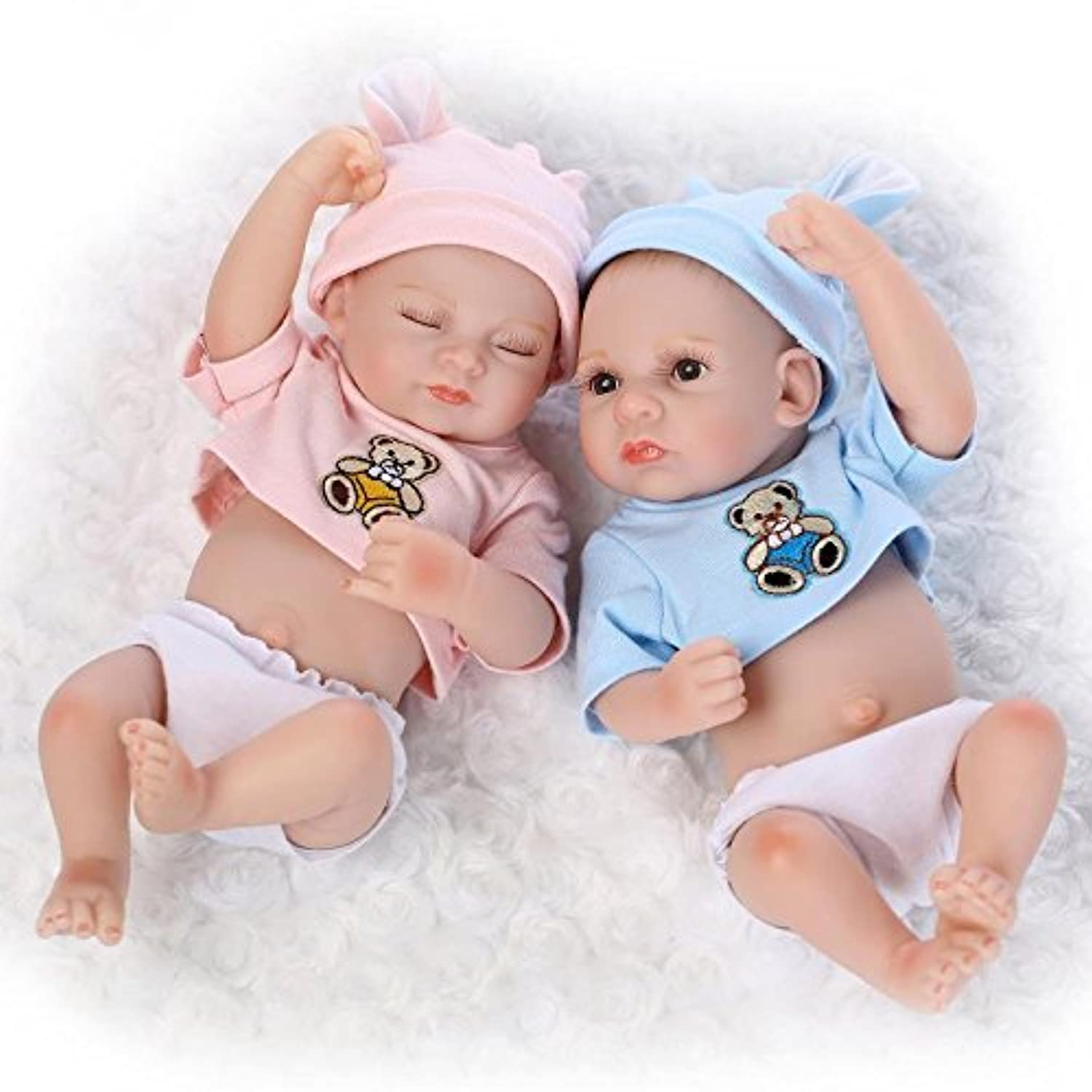 Lifelike Full Silicone Doll Set Reborn Baby Boy and Girl 25cm Twins Waterproof Home Decorations Kids Toys Collects