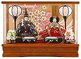 雛人形 コンパクト ひな人形 ケース飾り 親王飾り 藤翁作 姫華 豆親王 BR 金襴仕立 アクリルケース オルゴール付 h303-fn-173-234