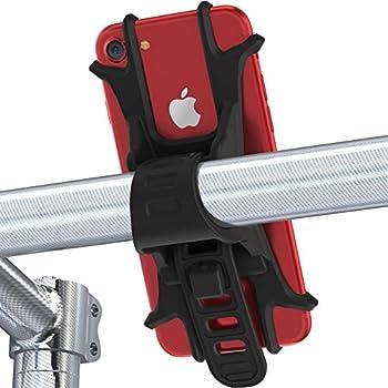 Fnova 自転車 スマホ ホルダー シリコン製 装着・脱着簡単 バイク/ベビーカーに固定用マウント GPSナビ・Android・iPhone 7 Plus まで多機種対応 脱落防止 (ブラック)