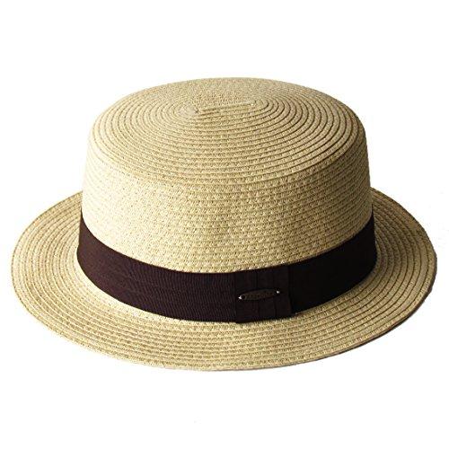 (エッジシティー)EdgeCity 麦わら帽子 ミックスペーパーボーター カンカン帽 76/ベージュ1 000620-0076-58