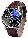 メンズ 贅沢 腕時計 クオーツ ブラウン レザーレベル