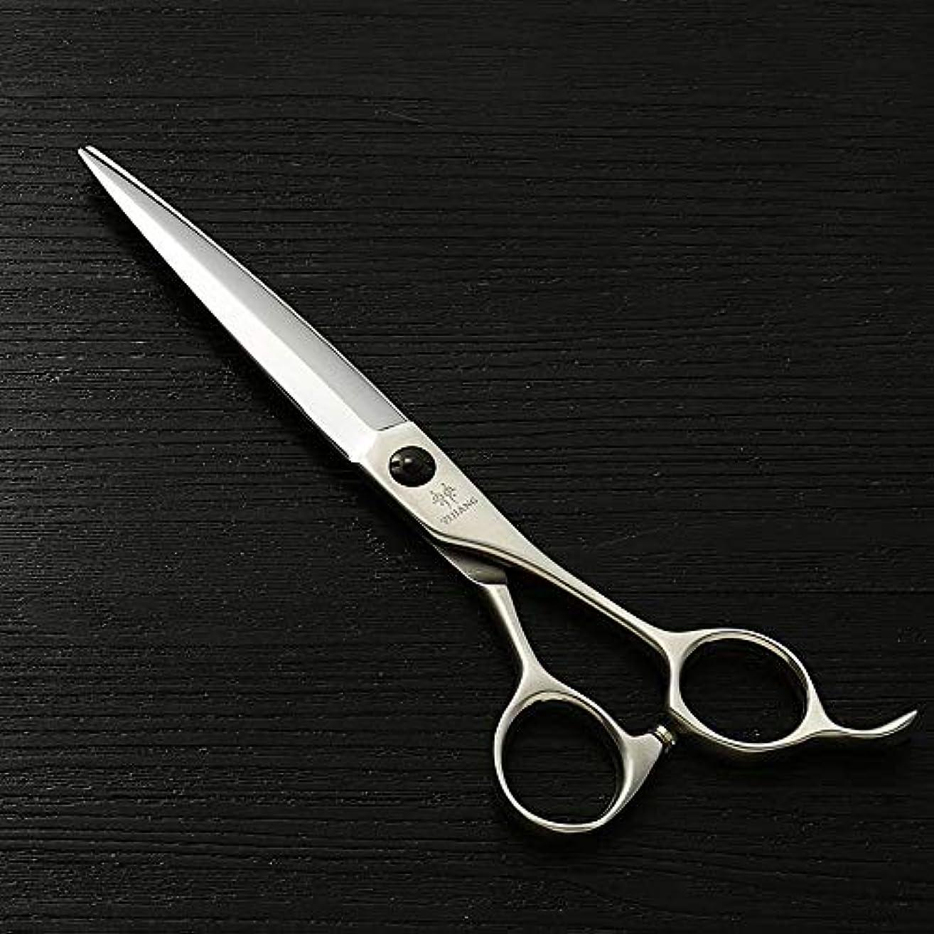 華氏厳しい神経衰弱理髪用はさみ 7.0ハイエンド理髪はさみ、440Cステンレス鋼散髪フラットはさみカット毛はさみステンレス理髪はさみ (色 : Silver)