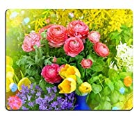 Yantengは一般的なカスタマイズされたラバーマウスパッドのゲームマウスパッドを作った春の花Raninculus campanula forsythiaチューリップレトロスタイルトーン画像と軽いフレーキング