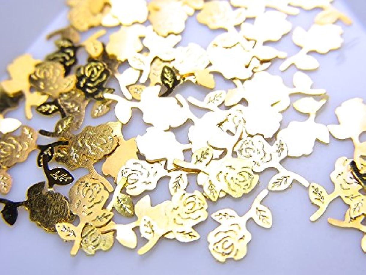 シャイニング神秘的な環境【jewel】薄型ネイルパーツ ゴールド 薔薇 バラ10個