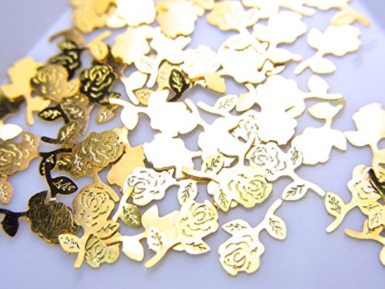 窒素明るくする矩形【jewel】薄型ネイルパーツ ゴールド 薔薇 バラ10個