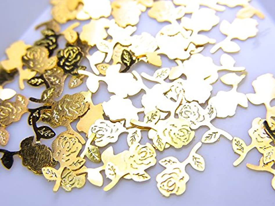 侵略処理する震える【jewel】薄型ネイルパーツ ゴールド 薔薇 バラ10個