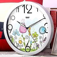 Hanpiaotech リビングルームの静かな掛け時計/Europeangardenclock/クリエイティブアート蓄光樹脂壁チャート 装飾的な掛け時計 (Color : H, サイズ : 12inch)