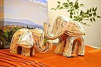 アジアン バリ 雑貨 ♪アンティーク風ホワイトウォッシュなゾウさん親子♪ おしゃれ インテリア エスニック 像 アニマル オブジェ 置物