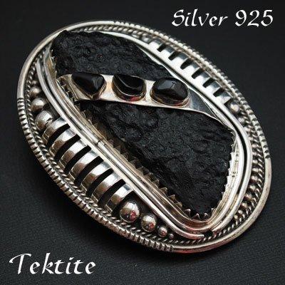 純銀製【隕石によって作られるテクタイト】レザーベルト用バックル 国産 ベルト幅40mmまで対応 シルバーバックル
