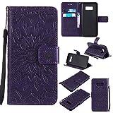 NEXCURIO Samsung Galaxy S8 / docomo SC-02J / au SCV36 ケース 手帳型 PU レザーケース 耐衝撃 カード収納 スタンド機能 マグネット式 ギャラクシーS8ケース 携帯カバー おしゃれ (紫)