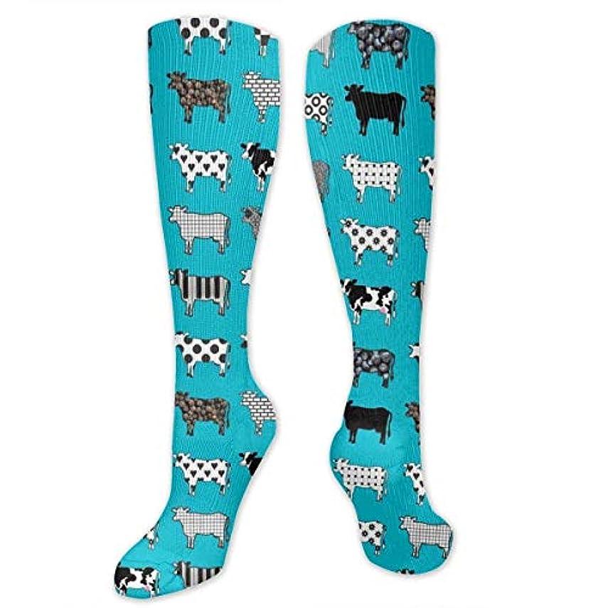 取得する前件ジョットディボンドン靴下,ストッキング,野生のジョーカー,実際,秋の本質,冬必須,サマーウェア&RBXAA Turquoise Cows Socks Women's Winter Cotton Long Tube Socks Knee High...